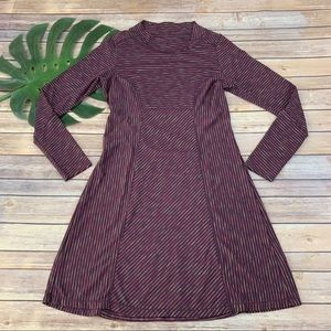 Prana purple long sleeve striped dress